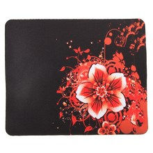 22X18cm Red Flower Non Slip Mouse Pad Rubber Bottom Mat Flower Pattern Cup Mat For Computer Laptop Notebook