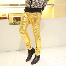 Gold Silver Black New fashion show skinny men trousers Shiny pu leather male pants nightclub stage performances wedding clothes(China)