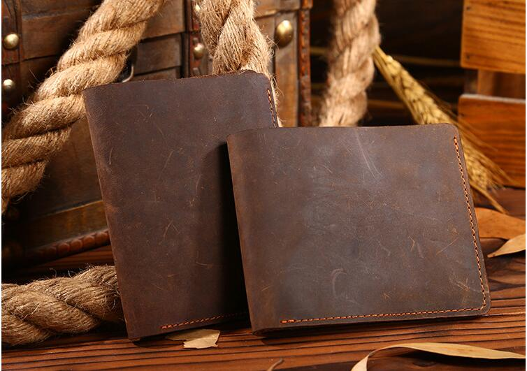 New arrival crazy horse leather mens short wallet genuine leather coin purse first layer cowhide leather purse brown color <br><br>Aliexpress
