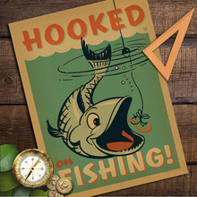 Hooked Fishing Place Kraft Paper Vintage Retro Poster Wall Sticker Art Painting antique painting Living Room Decor Cafe Bar Pub