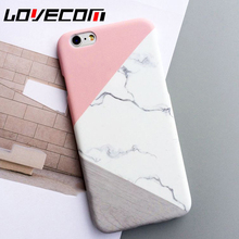 LOVECOM Phone Case For iPhone 5 5S SE 6 6S 7 Plus Fashion Pink Splice Marble Print Frosted Hard PC Phone Back Cover Cases New!
