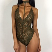 Buy Lace Crochet Bodysuits 2018 Summer Sexy Rompers Womens Jumpsuit Halter Neck See Backless Hollow Playsuit