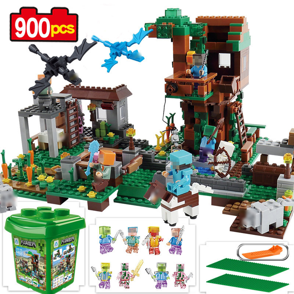 900pcs My World Molcard Village dragon figures building blocks Compatible Legoed minecrafted city bricks Enlighten children toy<br>