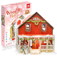 77PCS Alice's Home Princess Series 2016 New 3D Puzzle DIY Jigsaw Assembly Model Building Set Architecture Kids Girls Toys(China)