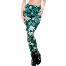 Fashion 3D print Women Leggings Knitted Causal Tayt Fitness Leggins Calzas Mujer Green Weed Girl(China)
