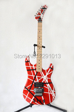 High quality Best Price New Arrival EVH Kramer 5150 guitar Red color with black and white stripes   Flory Rose Free shipping