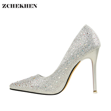 Silver Bling Rhinestone Fashion Design Women's High Heel Pumps Summer Party Wedding Stiletto Shoes Thin Heels(China)
