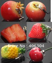 Free shipping,Simulation fruit(pineapple,strawberry,apple)cell phone Strap/Mobile Phone Charm/sweet keychain/bag Pendant