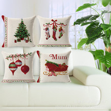Merry Christmas decorations for home Decorative throw pillow cover case green trees gift cushion cover capa para almofadas