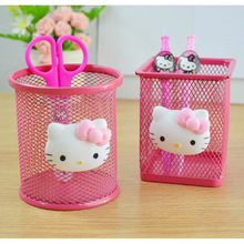 L57 Kawaii Hello Kitty Pink Hollow Metal Pencil Pen Holder Storage Box Stand Manage Case Student Stationery Household(China)