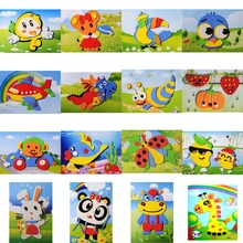 Kids Girl DIY Cartoon Animal 3D EVA Foam Sticker Puzzle Toys Learning & Education Toys Multi-patterns Styles Random(China)
