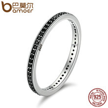 The 2017 Christmas DEALS Authentic 925 Sterling Silver 2 Colors Dazzling CZ Stackable Rings for Women Wedding Jewelry SCR114(China)