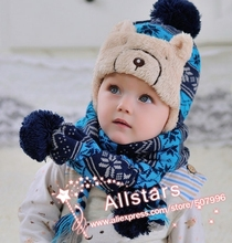 Free shipping boy girl unisex cotton knitted winter thick infant baby hat scarf set kid child red blue gray 3 color h-0149(China)