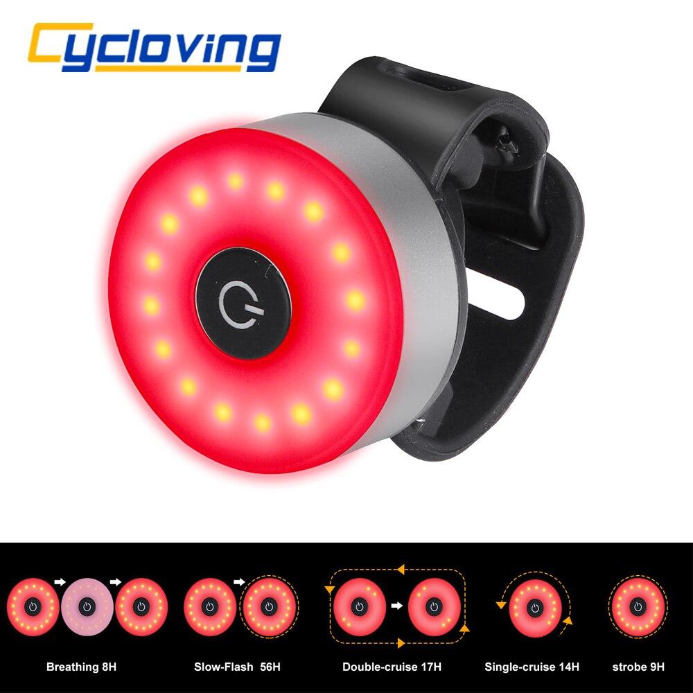 USB LED Fahrrad Licht Radfahren Hinten Rücklicht 5 Modus mit Rot Blau Licht