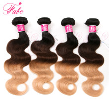 FABC Ombre Brazilian Hair Weave Bundles Body Wave T1B/4/27 Ombre Human Hair Extensions 3 Tone Blonde Non-Remy Hair 10-26inch