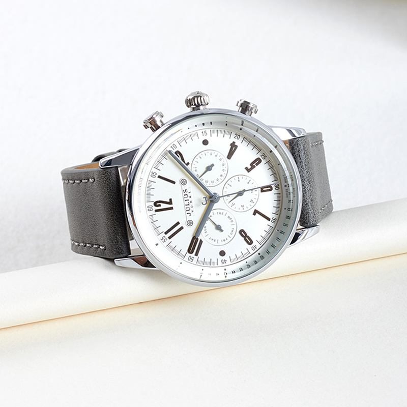 Real Functions Mens Watch Hours ISA Movt Clock Business Dress Bracelet Leather Sport Boy Birthday Christmas Gift Julius Box<br>