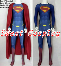 High Quality For 175cm Tall Superman Costume spandex lycra Superman suit with cape & 3D chest logo Cosplay Costume