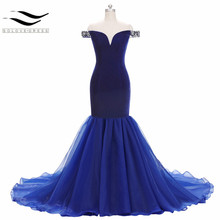 Sexy Miss America Beauty Pageant Contest Deep Blue Velvet Mermaid V-Neck Beading Crystal Formal Evening Dress 2018 Prom Dresses(China)