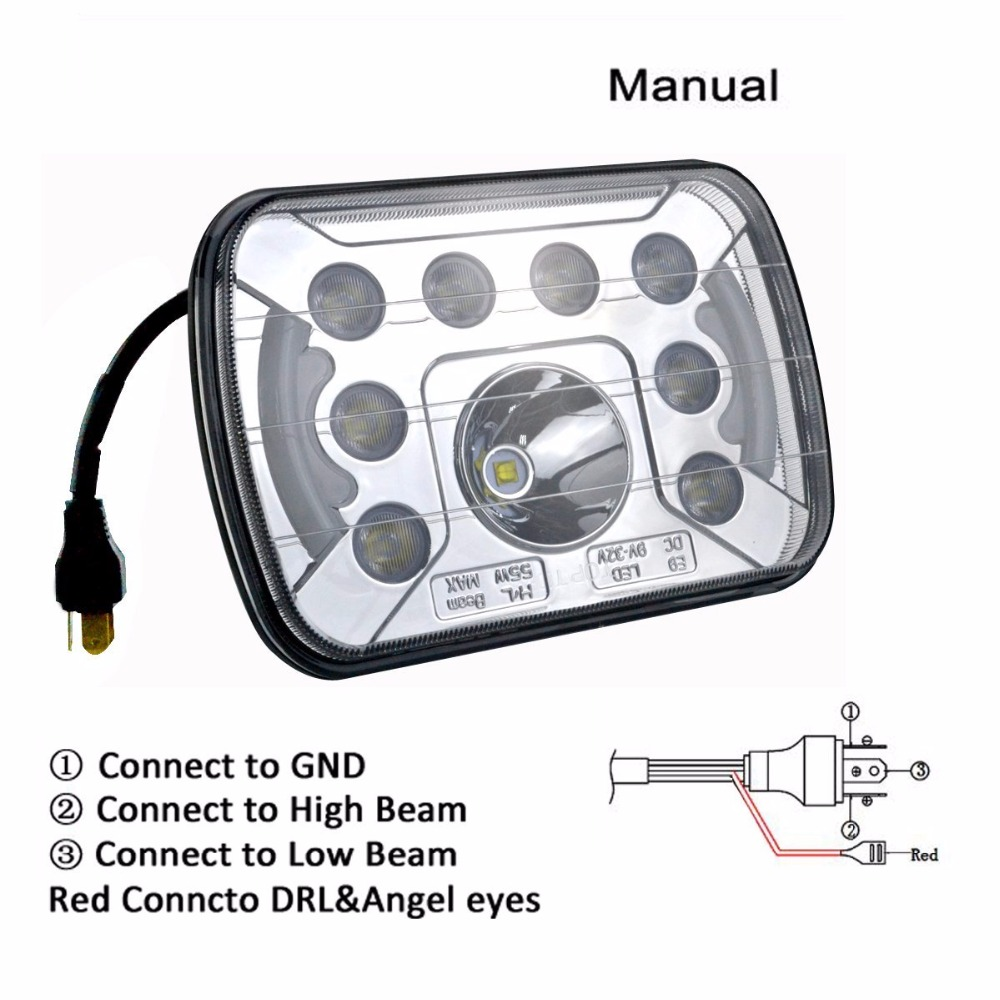 Pair 7x6 LED Headlights H4 55W Light With DRL for Jeep Wrangler YJ XJ GM Van Cherokee Ford<br>