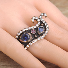 New Design Whale Fish Shape Rings For Women Girl Antique Gold-color Vintage Turkish Resin Acrylic Finger Ring anillos mujer