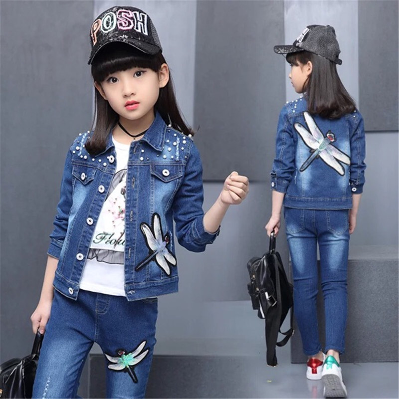Hot Childrens Suit 2017 Childrens Suit Spring New Girls Jeans Suit Childrens Fashion Set Two Piece Children Clothing Set<br>