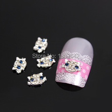 B102  10pcs/lot  3D Cute Animal Shape Clear AB Rhinestones Alloy Nail Art Decoration Cell Phone Nail Accessories From China