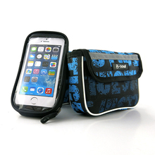 """B-SOUL 2.5L Bicycle Frame Front Bag Phone Camera Pouch Holder Oxford MTB Bike Bags 5.5"""" Cellphone Pocket"""