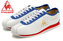 Le Coq Sportif Women's Running Shoes,High Quality Cow Leather Upper Le Coq Sportif Athletic Shoes Sneakers White/Blue/Golden 4