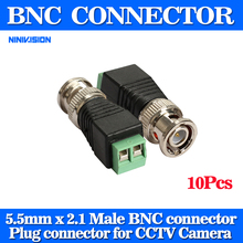 10Pcs/lot Mini Coax CAT5 To Camera CCTV BNC UTP Video Balun Connector Adapter BNC Plug For CCTV System(China)
