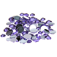 1000pcs 2-5mm And Mixed Sizes Light Purple Resin Rhinestones Non Hotfix Glitter Beauty For Nails Art Backpack Design Decorations(China)