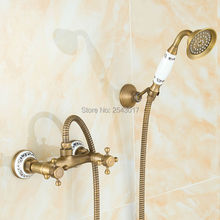 Antique Retro Brass Shower Faucet Noble and Elegant Bathroom Shower Set Wall Mount with Ceramic Hand Shower ZR003