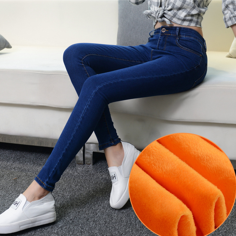 2017 Winter Warm thick velvet skinny jeans Pants for woman Plus size 34 33 Blue demin trousers Skinny ladies pant Femme PantalonОдежда и ак�е��уары<br><br><br>Aliexpress