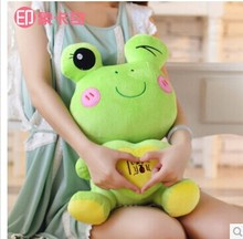 "stuffed animal plush 55cm"" i love you "" frog  plush toy light green frog toy doll w2187"