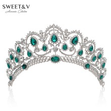 SWEETV Luxury Crystal Queen Crown Tiara for Bride - Pageant Prom Wedding Hair Accessories Decorations Head Jewelry with Gems