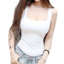 Sexy Low-Cut Tank Tops Women Large U-neck Bottoming Cotton Basic Tanks Sexy Nightclubs Clothing Plus Size Tanks Black White Gray(China)