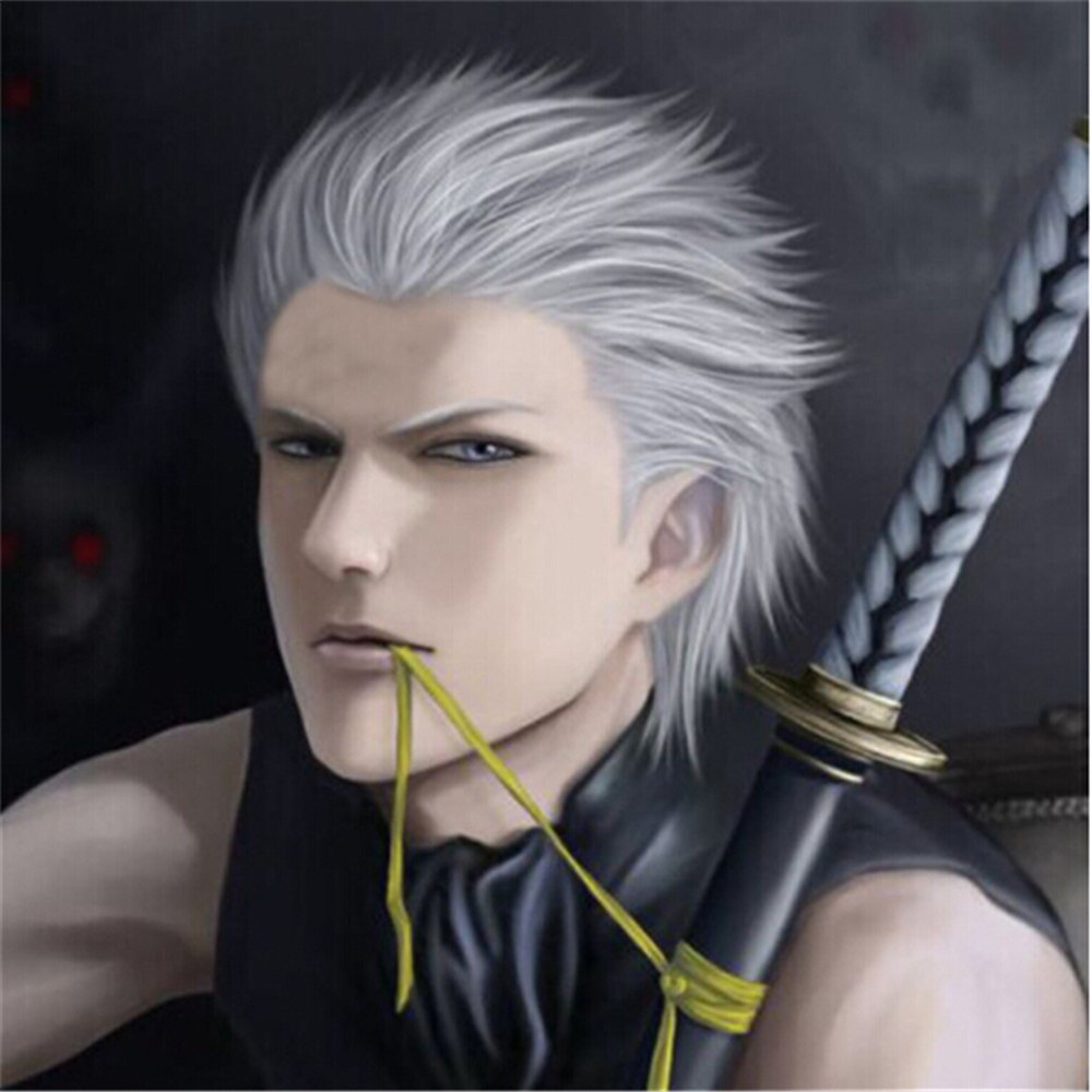 Devil May Cry Kushina Vergil Silver White Short Synthetic Hair Full Lace Wigs Vergil High Quality Cosplay Wig Free Shipping<br><br>Aliexpress