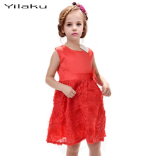 2017 New European and American Style Girls Summer Clothing Sleeveless Red Rose Party Princess Dresses For Cute Baby Girls CA114(China)