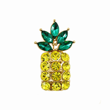 OneckOha Champagne Color Rhinestone Pineapple Brooches Crystal Ananas Fruit Plant Pin Garment Accessories Birthday Gift