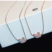 CX-Shirling Brand Copper Zircon Swan Necklace Fine Fashion Crystal Gold&Silver Collarbone Chain Pendant Necklace For Women Gift