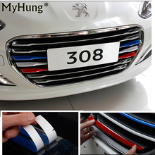 Hot Sale 3 Color Car Styling Front Reflective Strip Decal Vinyl Kidney Grille Sticker For Peugeot 308 Front Grille Strip Sticker