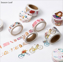 22 Designs Fashion Girl's Makeup Accessories Happy Life Tool Vintage Decorative Washi Tape DIY Diary Plan Scrapbook MaskingTape