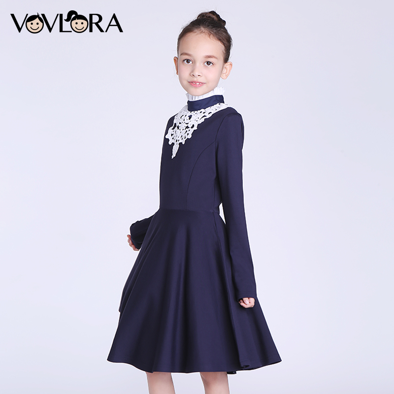 Girls Dresses Detachable Collar A-Line O-neck School Dresses 2017 New Winter Kids Clothes For Girls Size 9 10 11 12 13 14 Years<br>