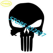 1 Piece 14x9.5CM Punisher Skull Car stickers Reflective Vinyl Car styling Helmet Motorcycle Laptop truck window bumper decals(China)