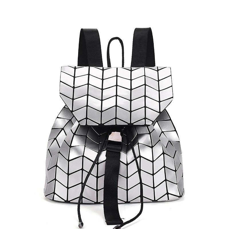 Women Backpack Geometric Plaid Sequin Female Backpacks For Teenage Girls Bagpack Holographic Drawstring School Bag<br>