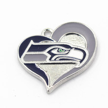 Heart Seattle Seahawks NFL Team Dangle Charms Football Sports Hanging Charm DIY Bracelet Necklace Pendant Jewelry 12Pcs/lot