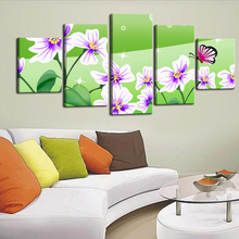 5 Pictures Group Canvas Printings Flower Spray Painting High Definition Flower Print On Canvas for Living Decorative Unframed(China)