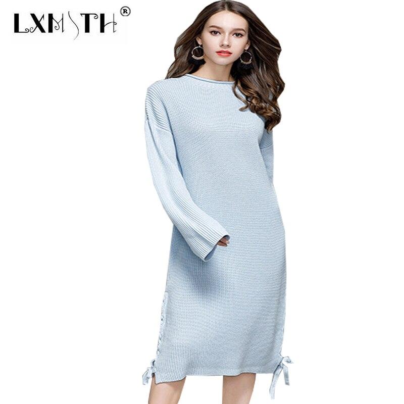 Autumn Winter Knitting Dresses Large Sizes Casual Long Dress Plus Size Lace Up Jumper Dresses Womnes O Collar Knitted DressesÎäåæäà è àêñåññóàðû<br><br>