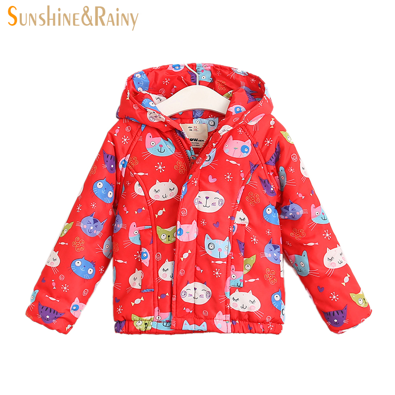 Cartoon Kitten Printing Girls Warm Winter Jacket Thicker Coats For Baby Girl Windproof &amp; Waterproof Hooded Childrens OuterwearОдежда и ак�е��уары<br><br><br>Aliexpress