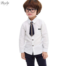 Cotton Shirts for Boys 2017 Fashion School Blouses for Boy Shirt Long Sleeves Children's Blouse School Uniform Shirt