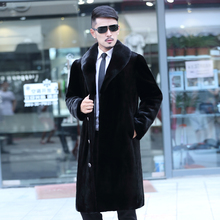 2017 autumn winter slim marten overcoat men's clothing design long mink fur coat men homens jaqueta de couro black plus size 6XL